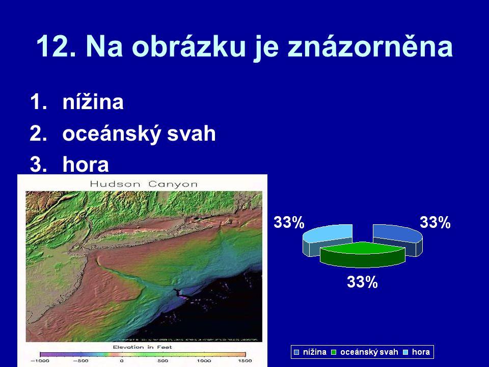 12. Na obrázku je znázorněna 1.nížina 2.oceánský svah 3.hora