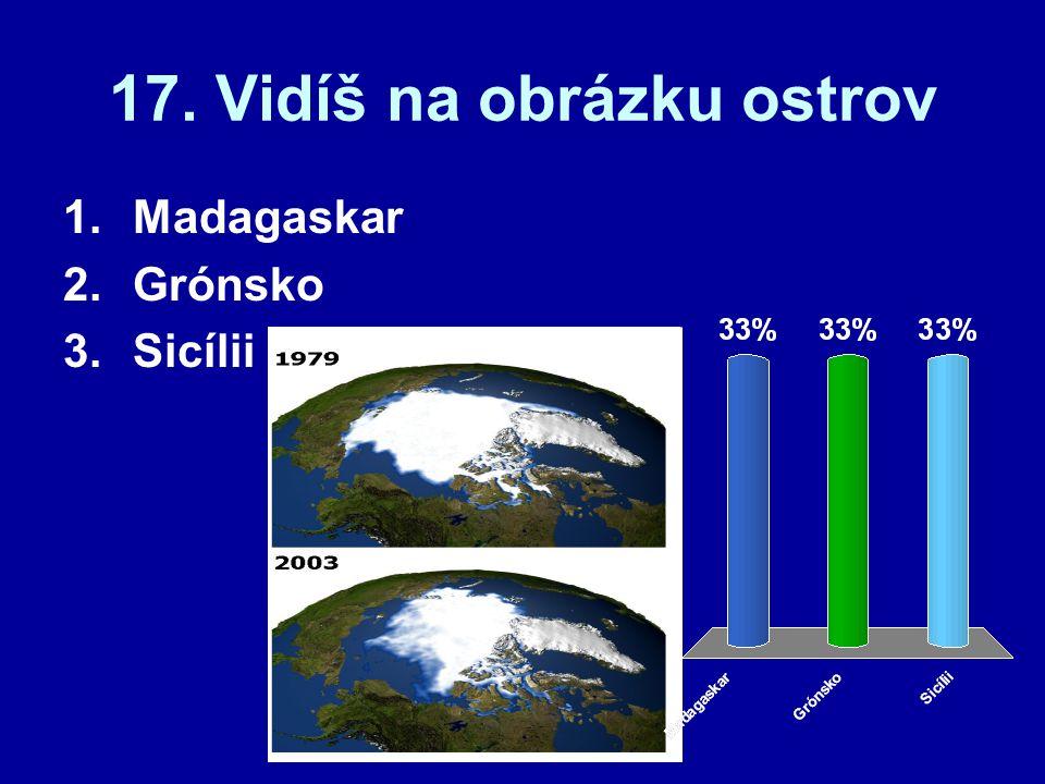 17. Vidíš na obrázku ostrov 1.Madagaskar 2.Grónsko 3.Sicílii