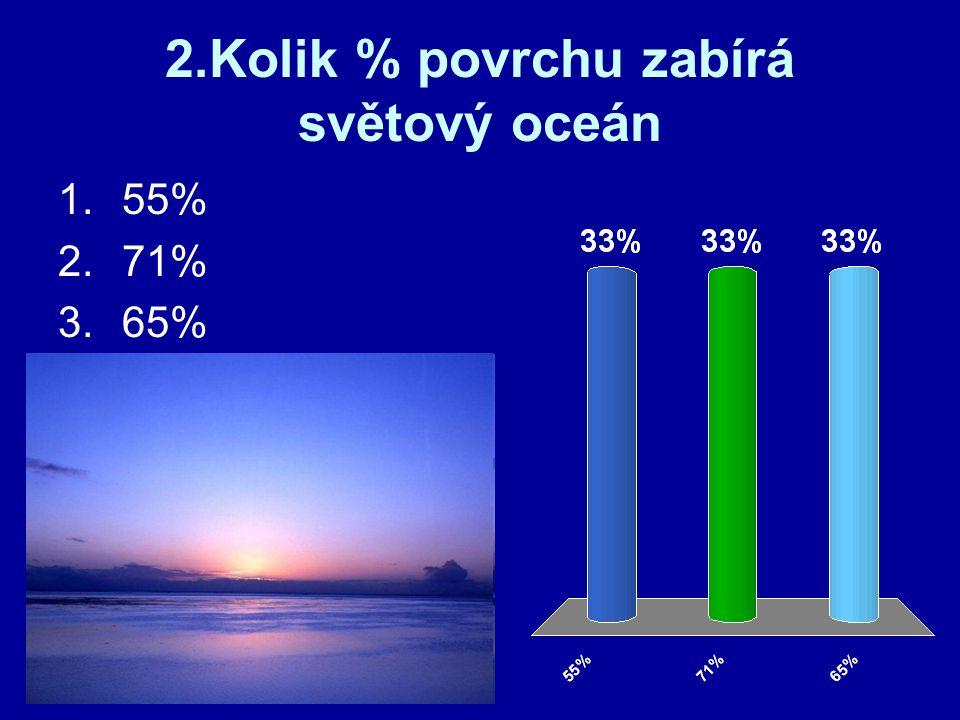2.Kolik % povrchu zabírá světový oceán 1.55% 2.71% 3.65%