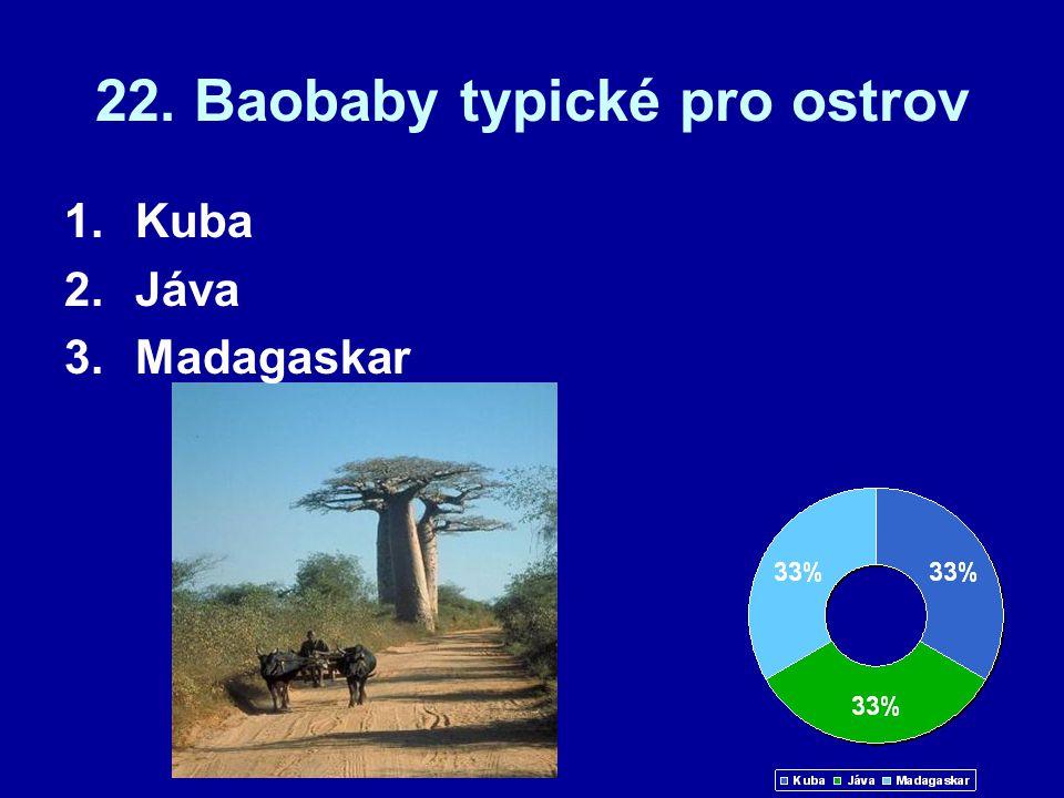 22. Baobaby typické pro ostrov 1.Kuba 2.Jáva 3.Madagaskar