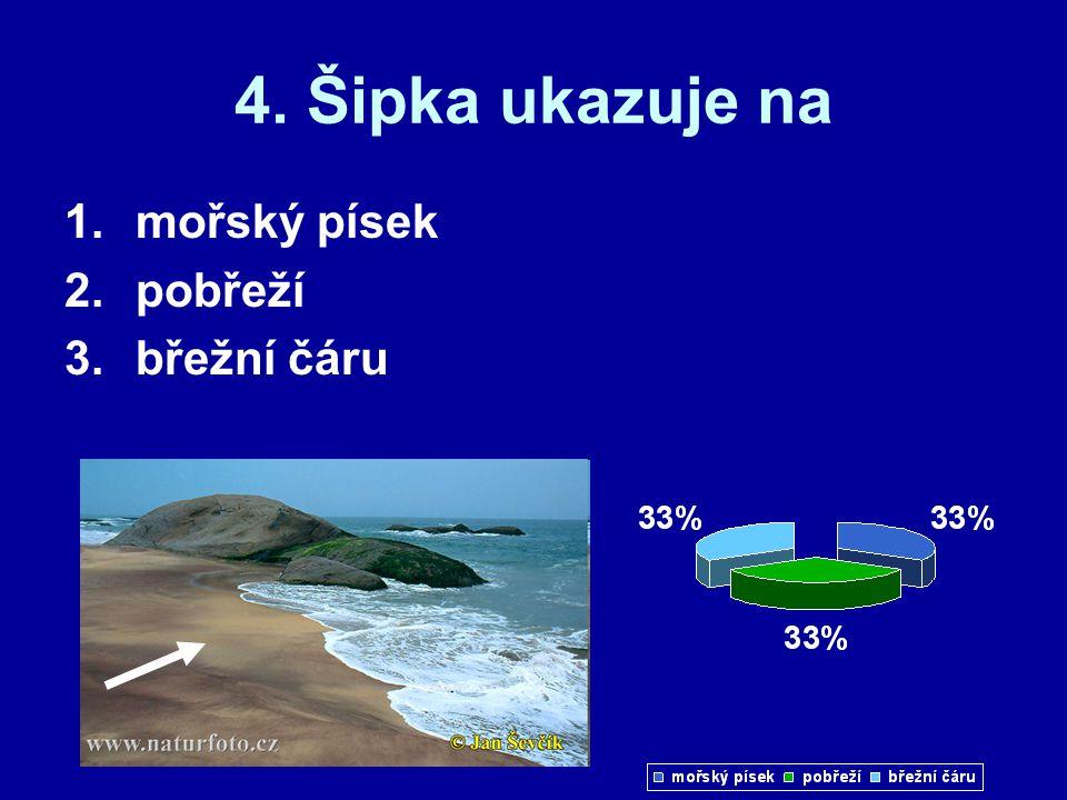 4. Šipka ukazuje na 1.mořský písek 2.pobřeží 3.břežní čáru