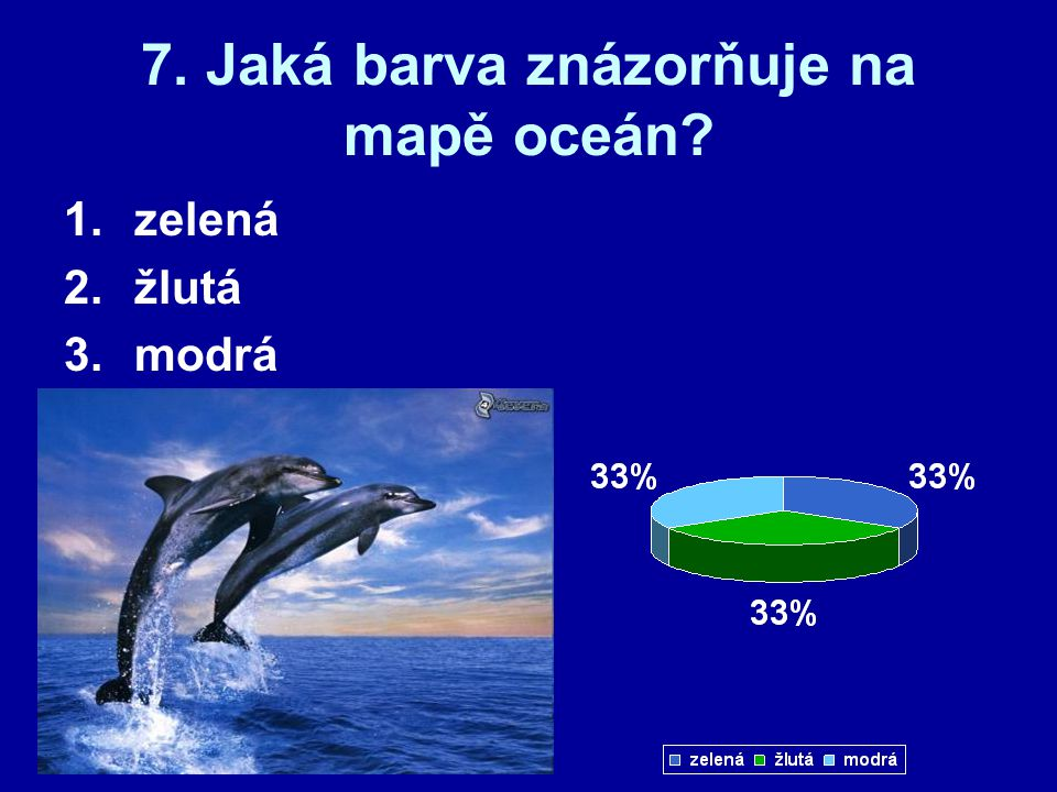 7. Jaká barva znázorňuje na mapě oceán? 1.zelená 2.žlutá 3.modrá