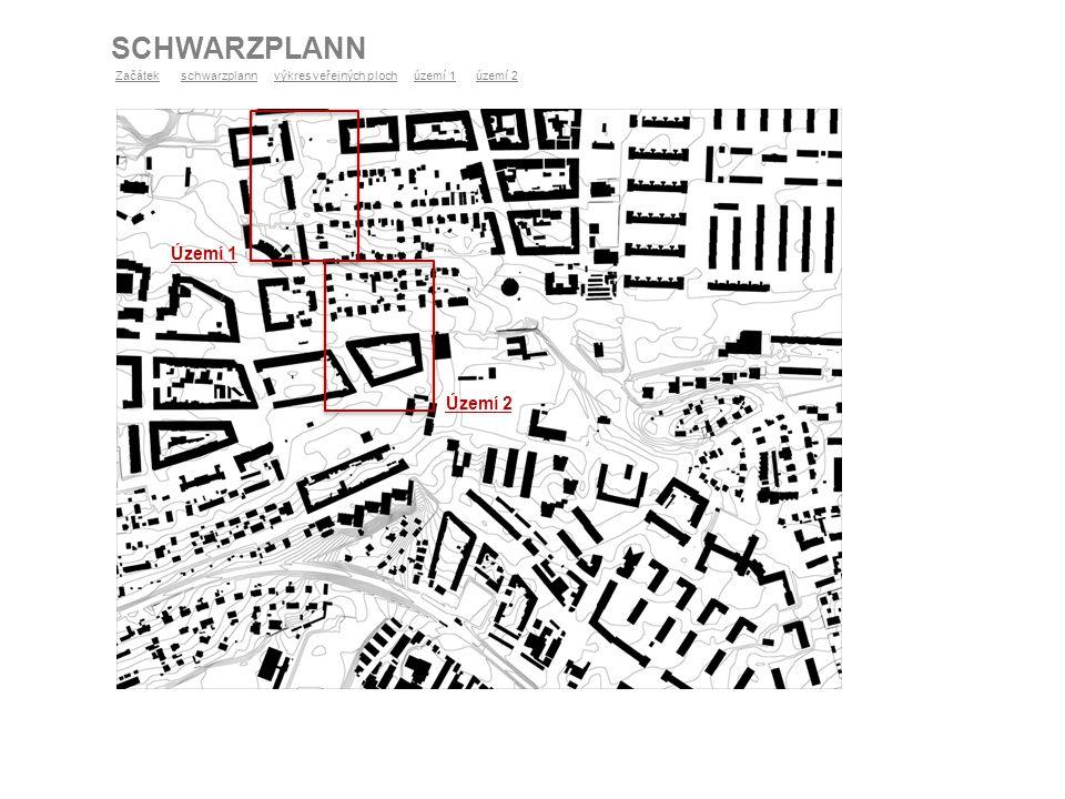 ANALÝZA VYUŽITÍ ÚZEMÍ 2 ZačátekZačátek schwarzplann výkres veřejných ploch území 1 území 2schwarzplannvýkres veřejných plochúzemí 1území 2 chodník Legenda chodník