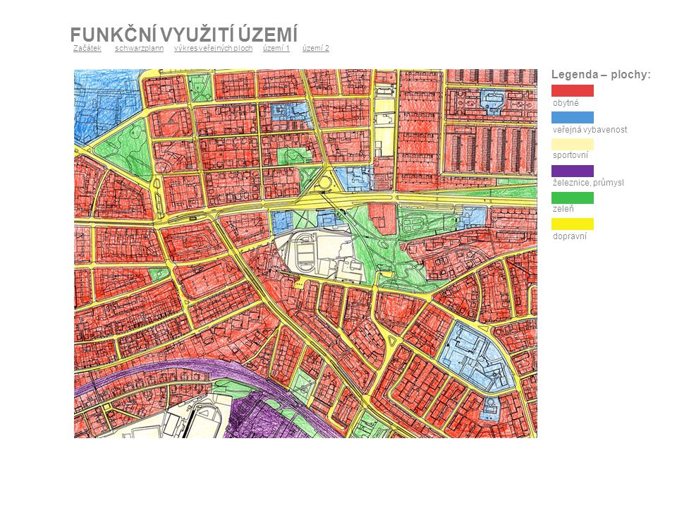 TYPICKÉ DĚJE V ŘEŠENÝCH PROSTORECH - POROVNÁNÍ Mapa znázorňuje lokalitu Hradčanského náměstí, Pražský Hrad, Staré zámecké schody a paláce na terénní hraně Hradčan.