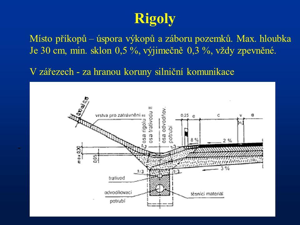 - Rigoly Místo příkopů – úspora výkopů a záboru pozemků. Max. hloubka Je 30 cm, min. sklon 0,5 %, výjimečně 0,3 %, vždy zpevněné. V zářezech - za hran