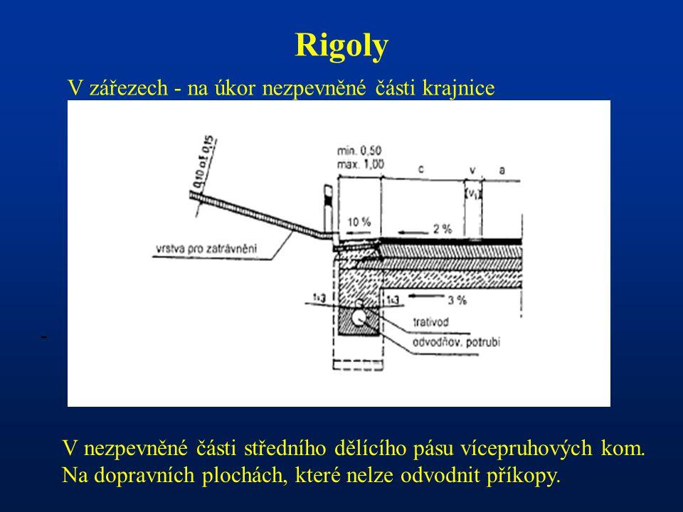 - Rigoly V zářezech - na úkor nezpevněné části krajnice V nezpevněné části středního dělícího pásu vícepruhových kom. Na dopravních plochách, které ne