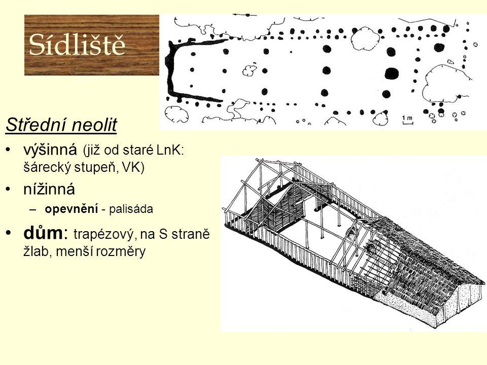 Sídliště Střední neolit výšinná (již od staré LnK: šárecký stupeň, VK) nížinná –opevnění - palisáda dům: trapézový, na S straně žlab, menší rozměry