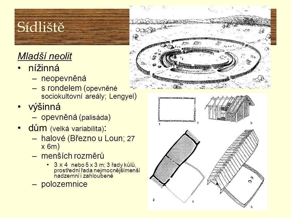 Sídliště Mladší neolit nížinná –neopevněná –s rondelem ( opevněné sociokultovní areály; Lengyel ) výšinná –opevněná ( palisáda ) dům (velká variabilit