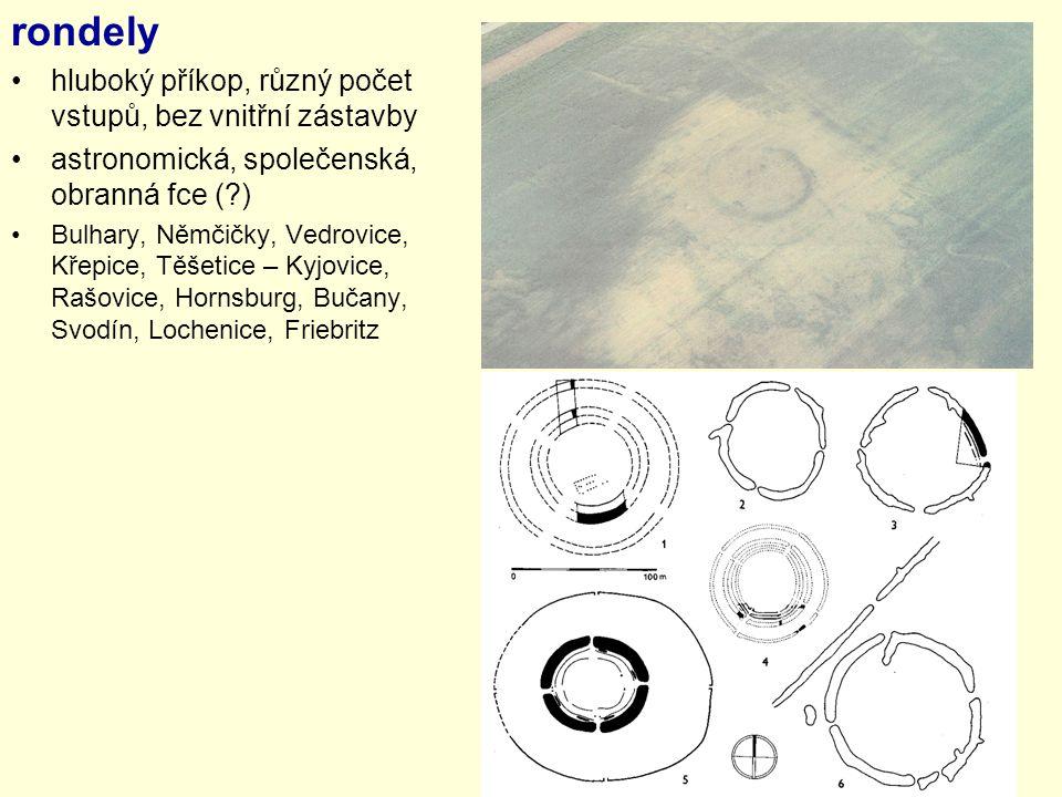 rondely hluboký příkop, různý počet vstupů, bez vnitřní zástavby astronomická, společenská, obranná fce (?) Bulhary, Němčičky, Vedrovice, Křepice, Těš