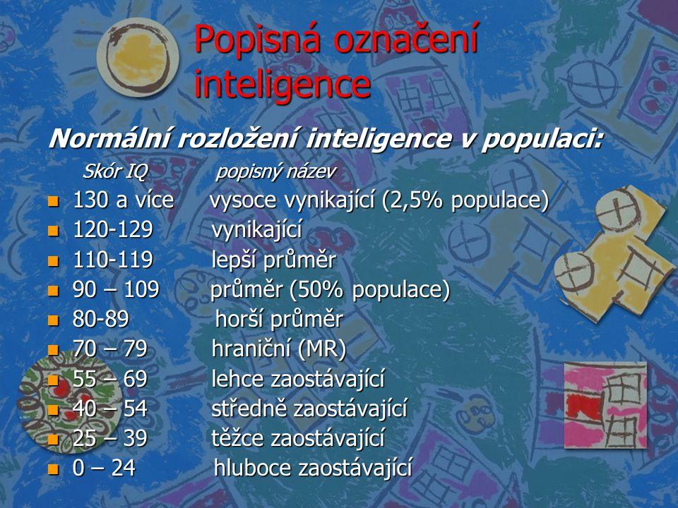 Popisná označení inteligence Normální rozložení inteligence v populaci: Skór IQ popisný název Skór IQ popisný název n 130 a více vysoce vynikající (2,