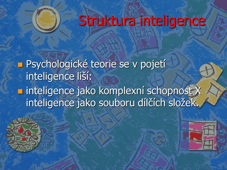 Struktura inteligence n Psychologické teorie se v pojetí inteligence liší: n inteligence jako komplexní schopnost X inteligence jako souboru dílčích s