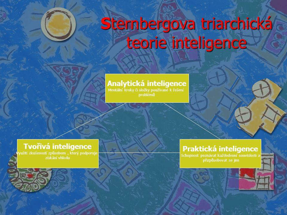 Sternbergova triarchická teorie inteligence Analytická inteligence Mentální kroky či složky používané k řešení problémů Tvořivá inteligence Využití zk