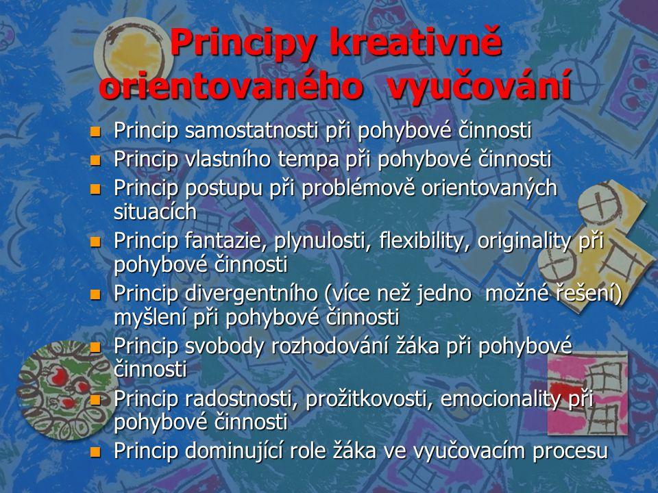Principy kreativně orientovaného vyučování n Princip samostatnosti při pohybové činnosti n Princip vlastního tempa při pohybové činnosti n Princip pos