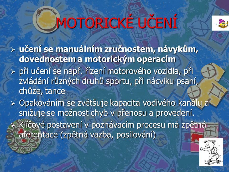 MOTORICKÉ UČENÍ MOTORICKÉ UČENÍ  učení se manuálním zručnostem, návykům, dovednostem a motorickým operacím  při učení se např. řízení motorového voz