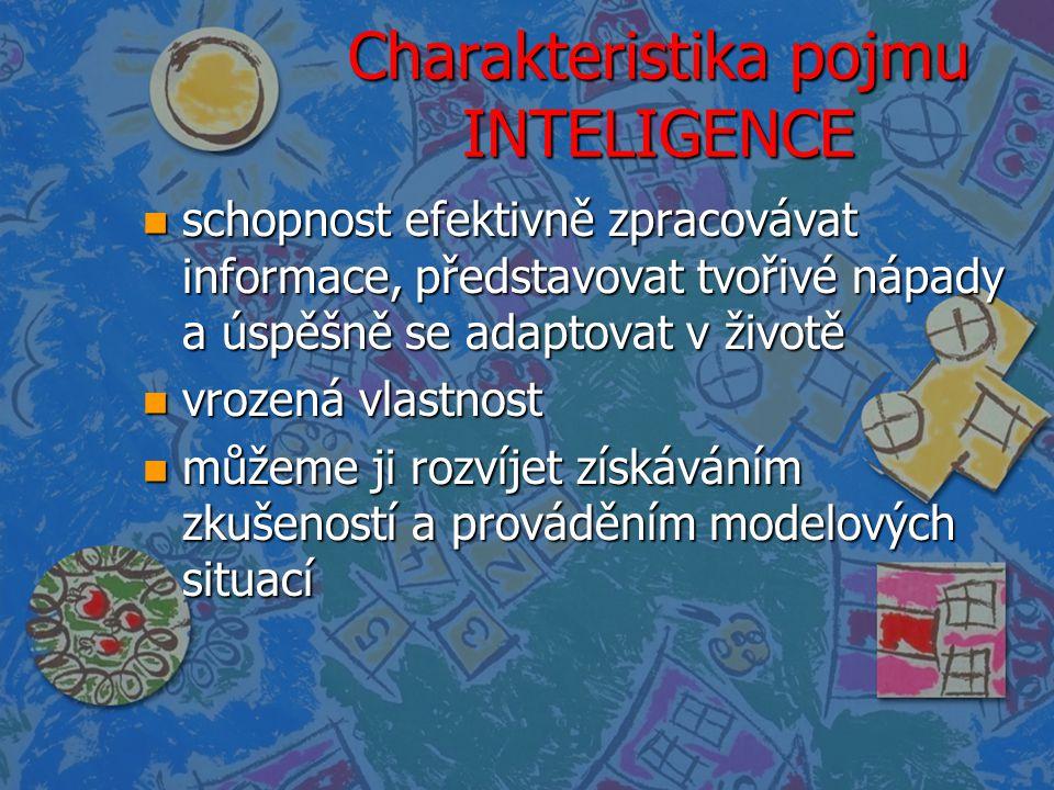 Charakteristika pojmu INTELIGENCE n schopnost efektivně zpracovávat informace, představovat tvořivé nápady a úspěšně se adaptovat v životě n vrozená v