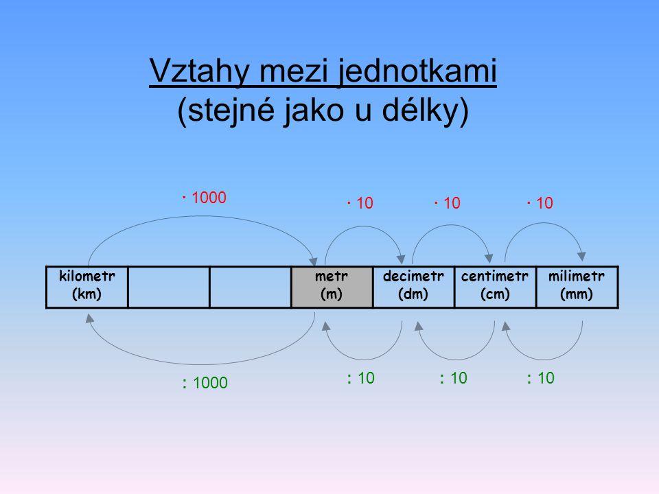 Vztahy mezi jednotkami (stejné jako u délky) kilometr (km) metr (m) decimetr (dm) centimetr (cm) milimetr (mm) · 1000 · 10 : 1000 : 10