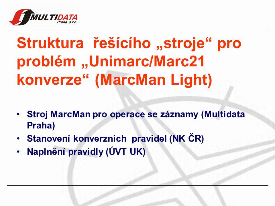 """Struktura řešícího """"stroje pro problém """"Unimarc/Marc21 konverze (MarcMan Light) Stroj MarcMan pro operace se záznamy (Multidata Praha) Stanovení konverzních pravidel (NK ČR) Naplnění pravidly (ÚVT UK)"""
