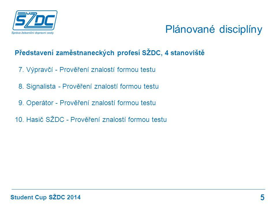 Student Cup SŽDC 2014 Plánované disciplíny 5 Představení zaměstnaneckých profesí SŽDC, 4 stanoviště 7. Výpravčí - Prověření znalostí formou testu 8. S