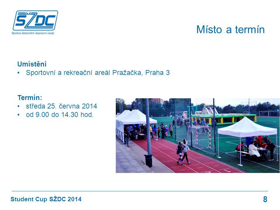 Student Cup SŽDC 2014 Místo a termín 8 Umístění Sportovní a rekreační areál Pražačka, Praha 3 Termín: středa 25. června 2014 od 9.00 do 14.30 hod.