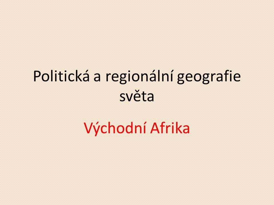 """Vymezení regionu POKUS SE BEZ ATLASU VYJMENOVAT CO NEJVÍCE STÁTŮ TOHOTO REGIONU  Keňa, Tanzanie, Uganda  Džibutsko, Eritrea, Etiopie, Somálsko (""""Africký roh )  Mozambik, Malawi, Madagaskar, Súdán KTERÝ STÁT TOHOTO REGIONU JE NEJMLADŠÍ."""