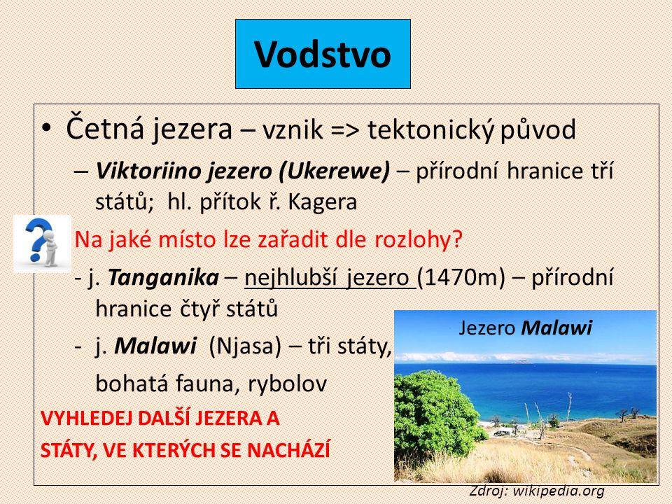 Vodstvo Četná jezera – vznik => tektonický původ – Viktoriino jezero (Ukerewe) – přírodní hranice tří států; hl.