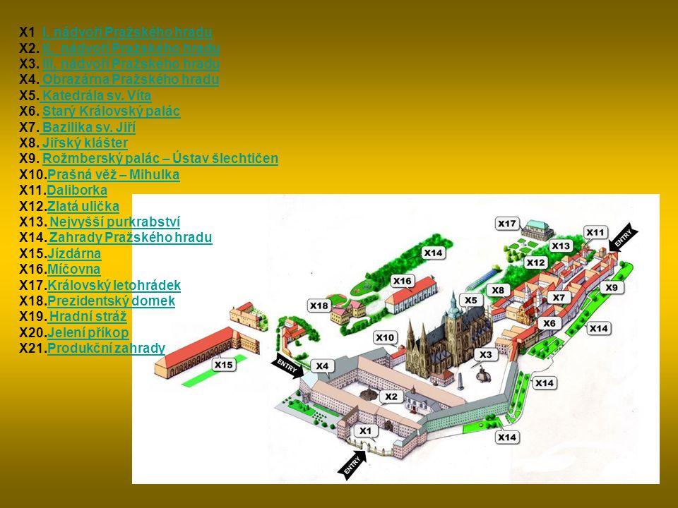 X1 I. nádvoří Pražského hradu X2. II. nádvoří Pražského hradu X3.