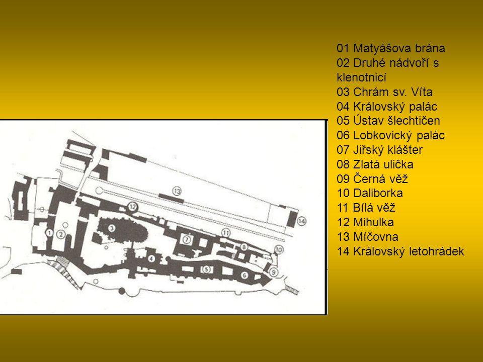 01 Matyášova brána 02 Druhé nádvoří s klenotnicí 03 Chrám sv.