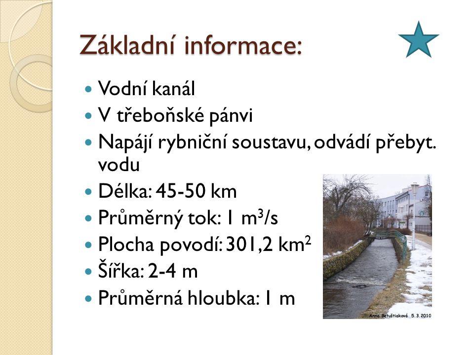 Základní informace: Vodní kanál V třeboňské pánvi Napájí rybniční soustavu, odvádí přebyt.