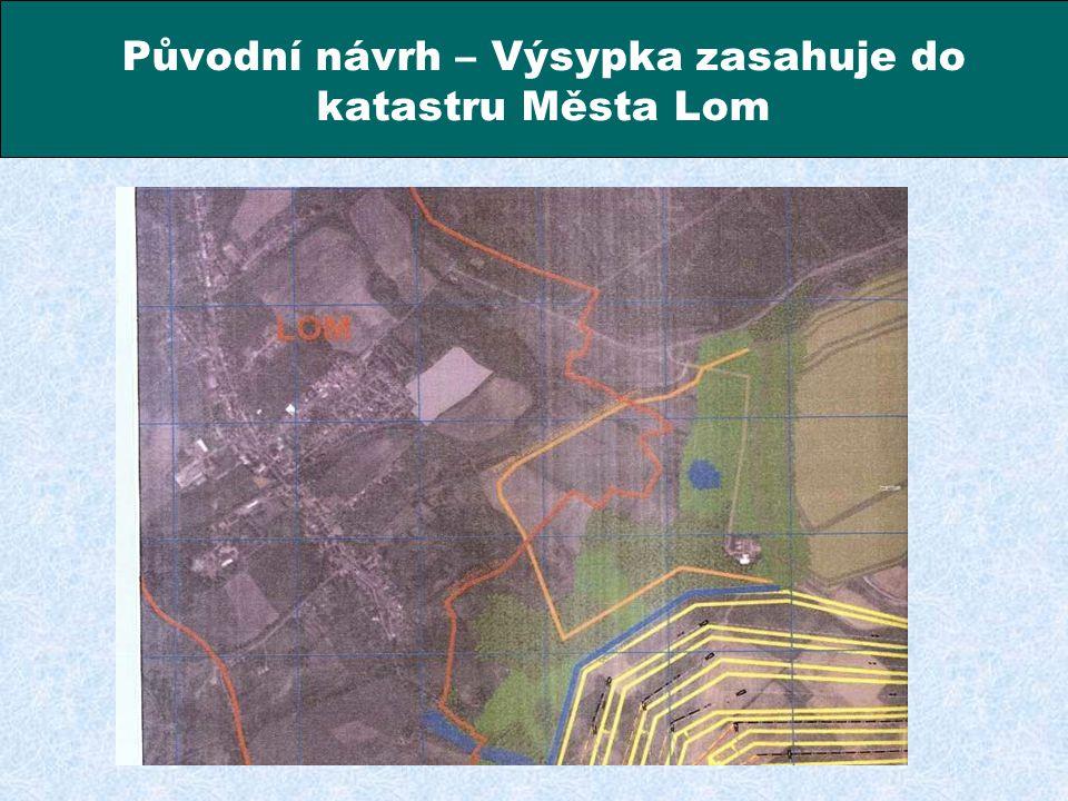 Kompromisní řešení – Výsypka je ukončena před hranicí katastru Města – hranice těžby je schválena