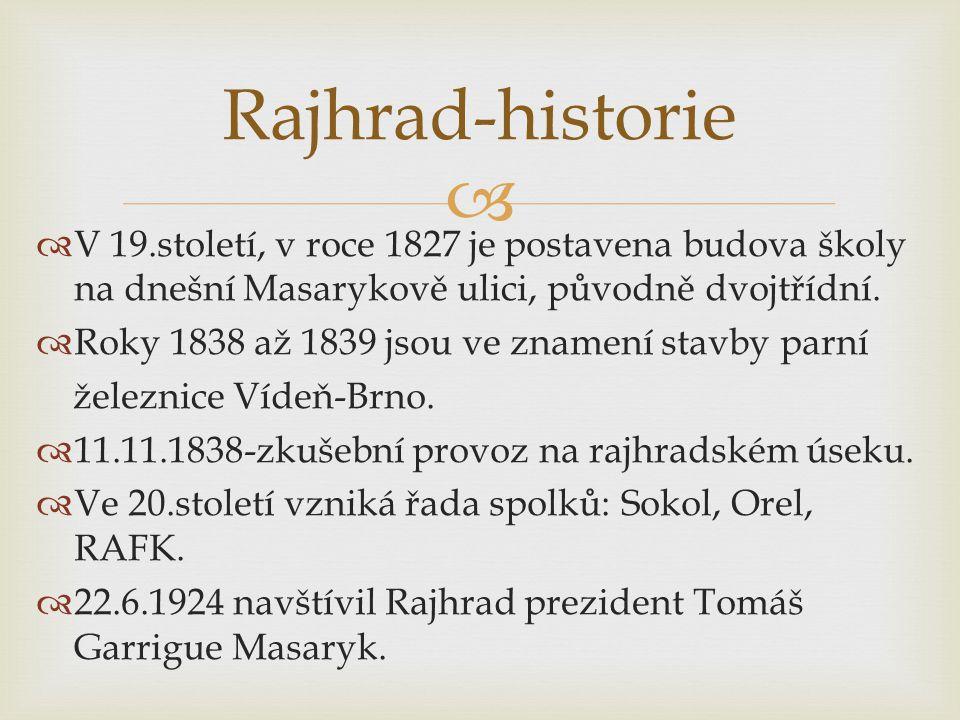   V 19.století, v roce 1827 je postavena budova školy na dnešní Masarykově ulici, původně dvojtřídní.  Roky 1838 až 1839 jsou ve znamení stavby par