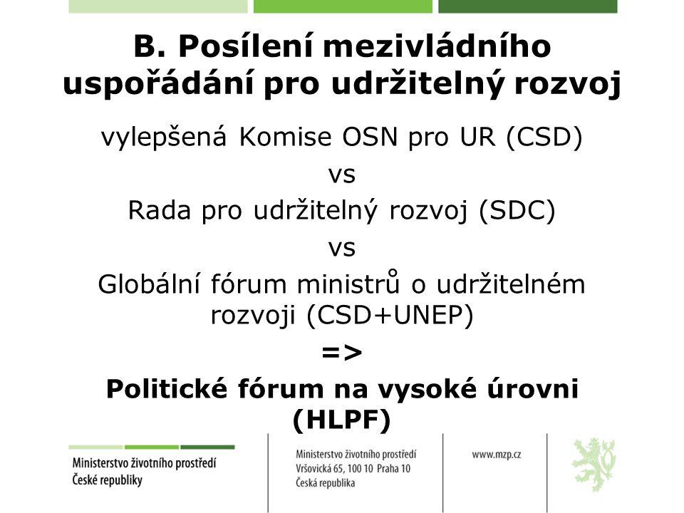 B. Posílení mezivládního uspořádání pro udržitelný rozvoj vylepšená Komise OSN pro UR (CSD) vs Rada pro udržitelný rozvoj (SDC) vs Globální fórum mini