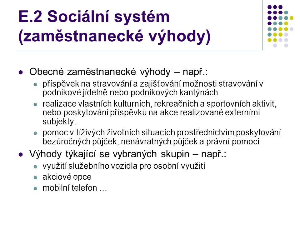 E.2 Sociální systém (zaměstnanecké výhody) Obecné zaměstnanecké výhody – např.: příspěvek na stravování a zajišťování možnosti stravování v podnikové jídelně nebo podnikových kantýnách realizace vlastních kulturních, rekreačních a sportovních aktivit, nebo poskytování příspěvků na akce realizované externími subjekty.