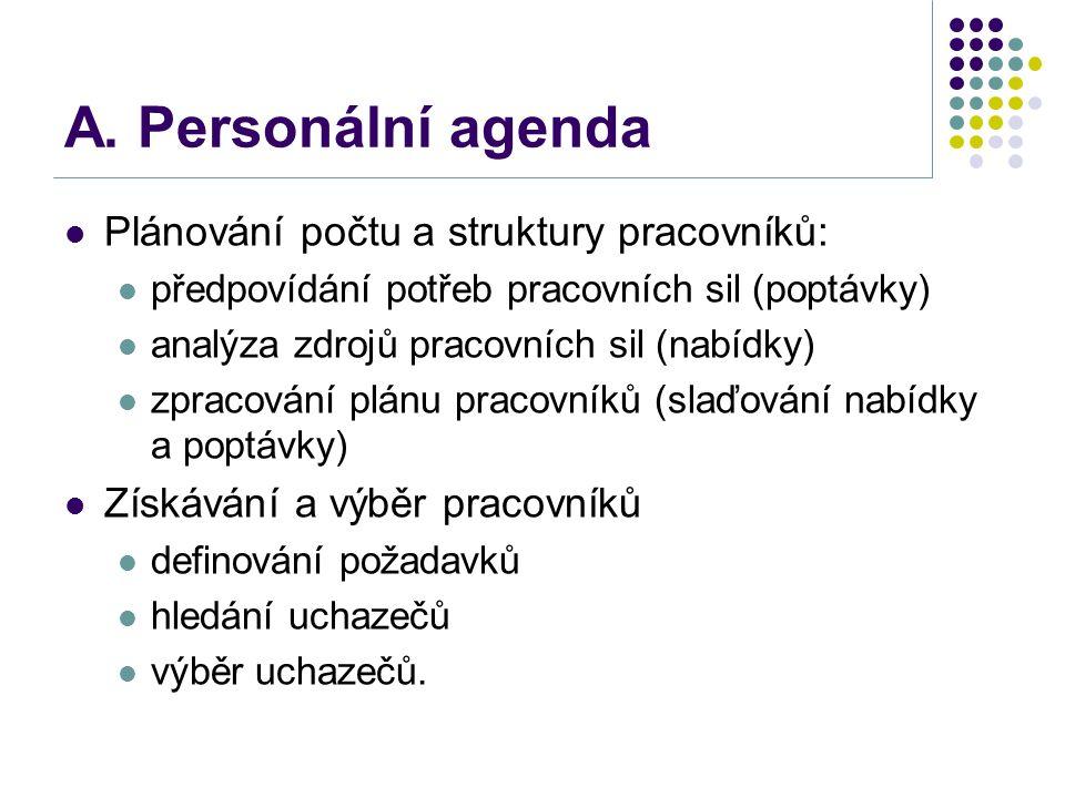 A. Personální agenda Plánování počtu a struktury pracovníků: předpovídání potřeb pracovních sil (poptávky) analýza zdrojů pracovních sil (nabídky) zpr