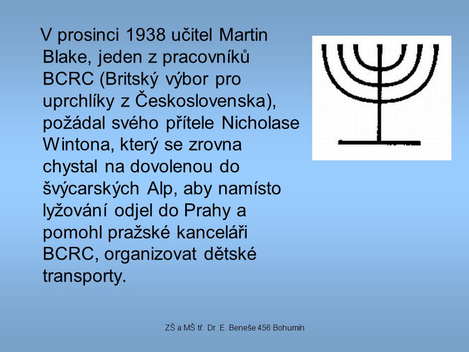 V prosinci 1938 učitel Martin Blake, jeden z pracovníků BCRC (Britský výbor pro uprchlíky z Československa), požádal svého přítele Nicholase Wintona,