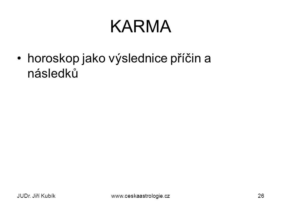 JUDr. Jiří Kubíkwww.ceskaastrologie.cz26 KARMA horoskop jako výslednice příčin a následků