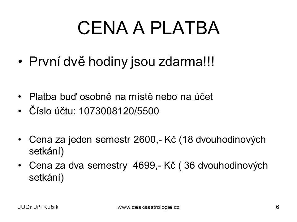 CENA A PLATBA První dvě hodiny jsou zdarma!!.