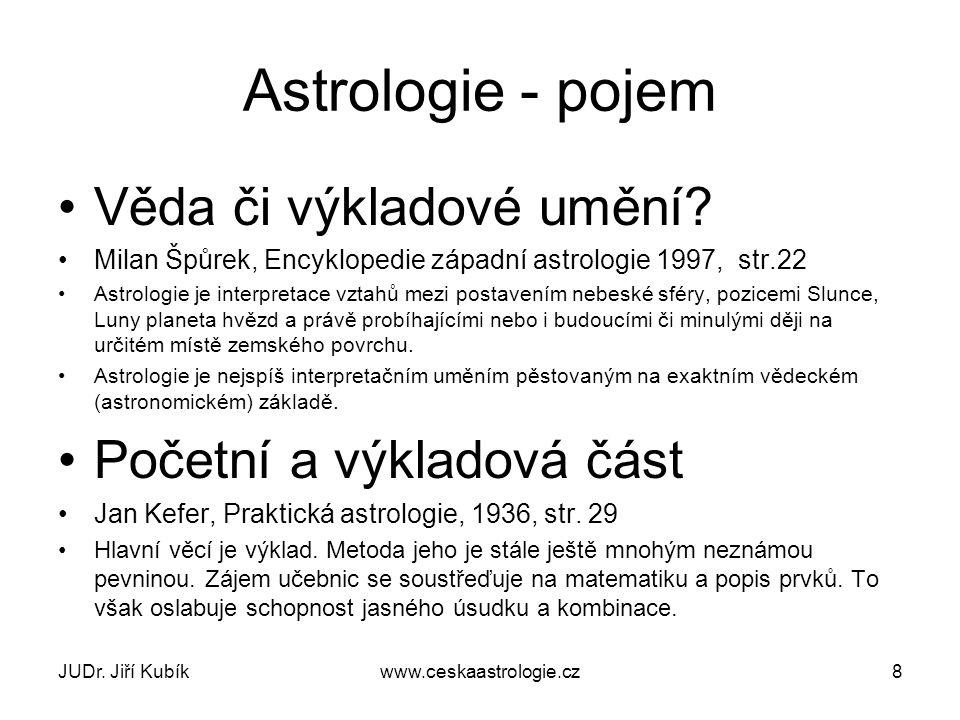 JUDr. Jiří Kubíkwww.ceskaastrologie.cz8 Astrologie - pojem Věda či výkladové umění.