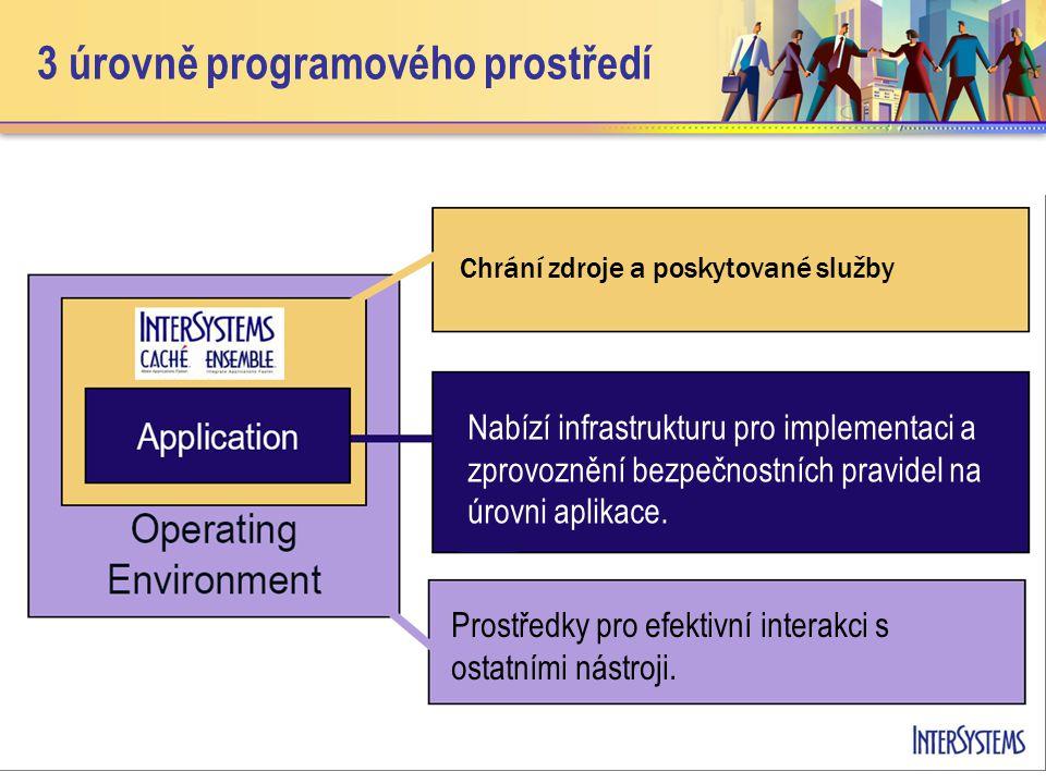 3 úrovně programového prostředí Chrání zdroje a poskytované služby Nabízí infrastrukturu pro implementaci a zprovoznění bezpečnostních pravidel na úrovni aplikace.