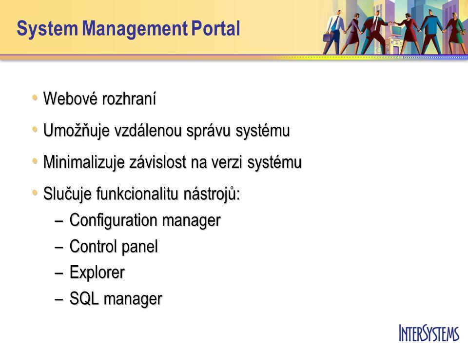 System Management Portal Webové rozhraní Webové rozhraní Umožňuje vzdálenou správu systému Umožňuje vzdálenou správu systému Minimalizuje závislost na verzi systému Minimalizuje závislost na verzi systému Slučuje funkcionalitu nástrojů: Slučuje funkcionalitu nástrojů: –Configuration manager –Control panel –Explorer –SQL manager