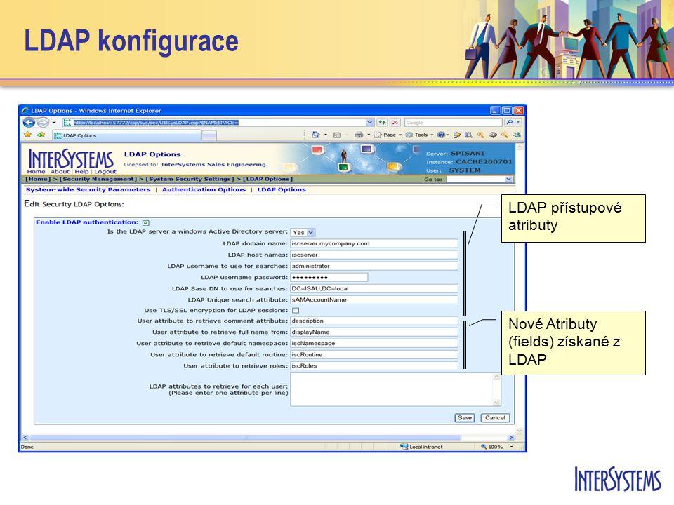 LDAP konfigurace LDAP přístupové atributy Nové Atributy (fields) získané z LDAP