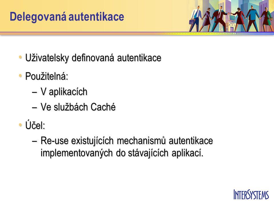 Delegovaná autentikace Uživatelsky definovaná autentikace Uživatelsky definovaná autentikace Použitelná: Použitelná: –V aplikacích –Ve službách Caché Účel: Účel: –Re-use existujících mechanismů autentikace implementovaných do stávajících aplikací.