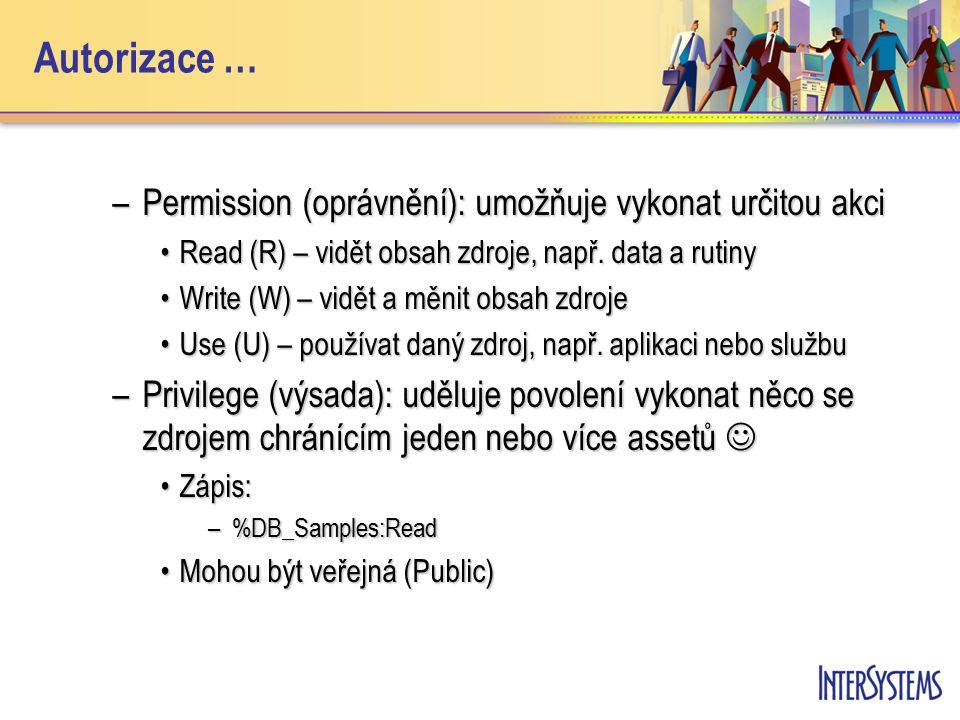 Autorizace … –Permission (oprávnění): umožňuje vykonat určitou akci Read (R) – vidět obsah zdroje, např. data a rutinyRead (R) – vidět obsah zdroje, n