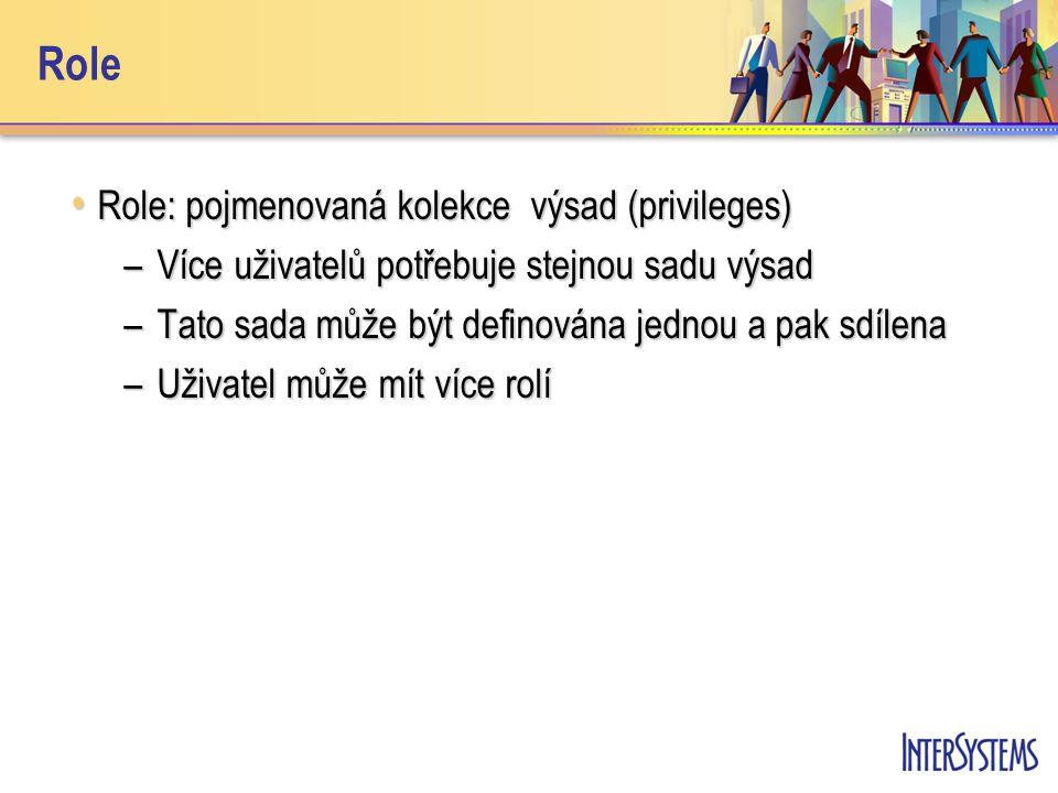 Role Role: pojmenovaná kolekce výsad (privileges) Role: pojmenovaná kolekce výsad (privileges) –Více uživatelů potřebuje stejnou sadu výsad –Tato sada