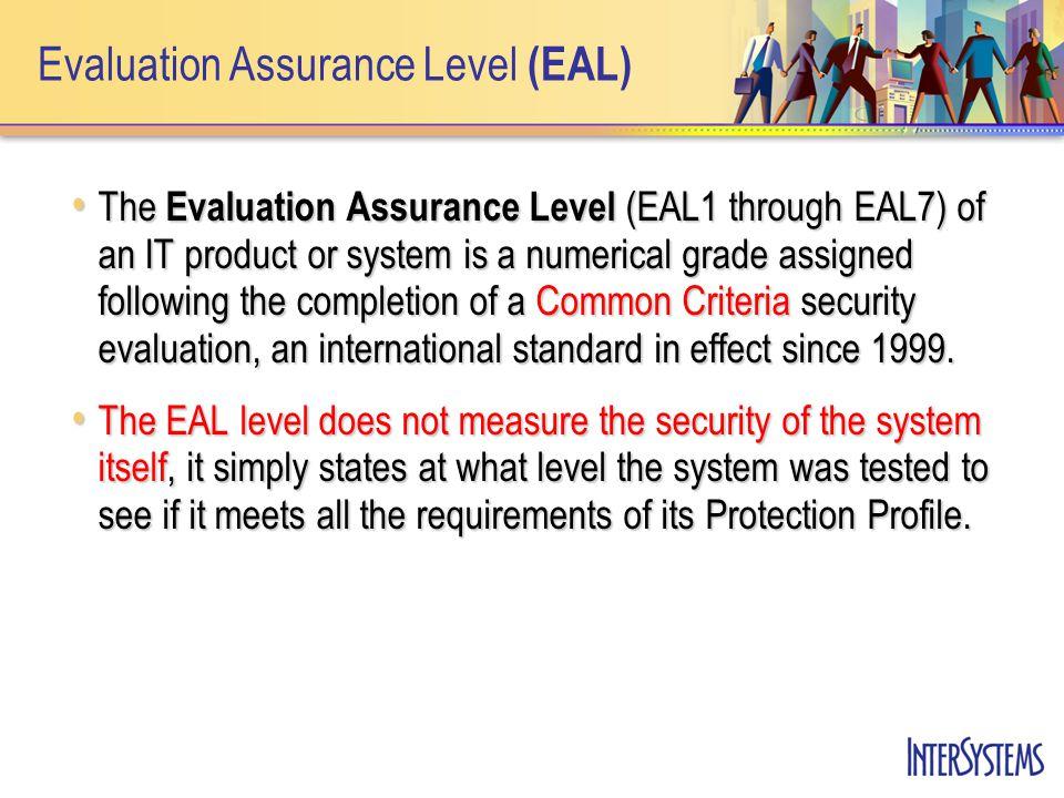 Evaluation Assurance Level (EAL) Úrovně certifikatů EAL Úrovně certifikatů EAL –EAL1: Functionally Tested –EAL2: Structurally Tested –EAL3: Methodically Tested and Checked –EAL4: Methodically Designed, Tested and Reviewed –EAL5: Semiformally Designed and Tested –EAL6: Semiformally Verified Design and Tested –EAL7: Formally Verified Design and Tested