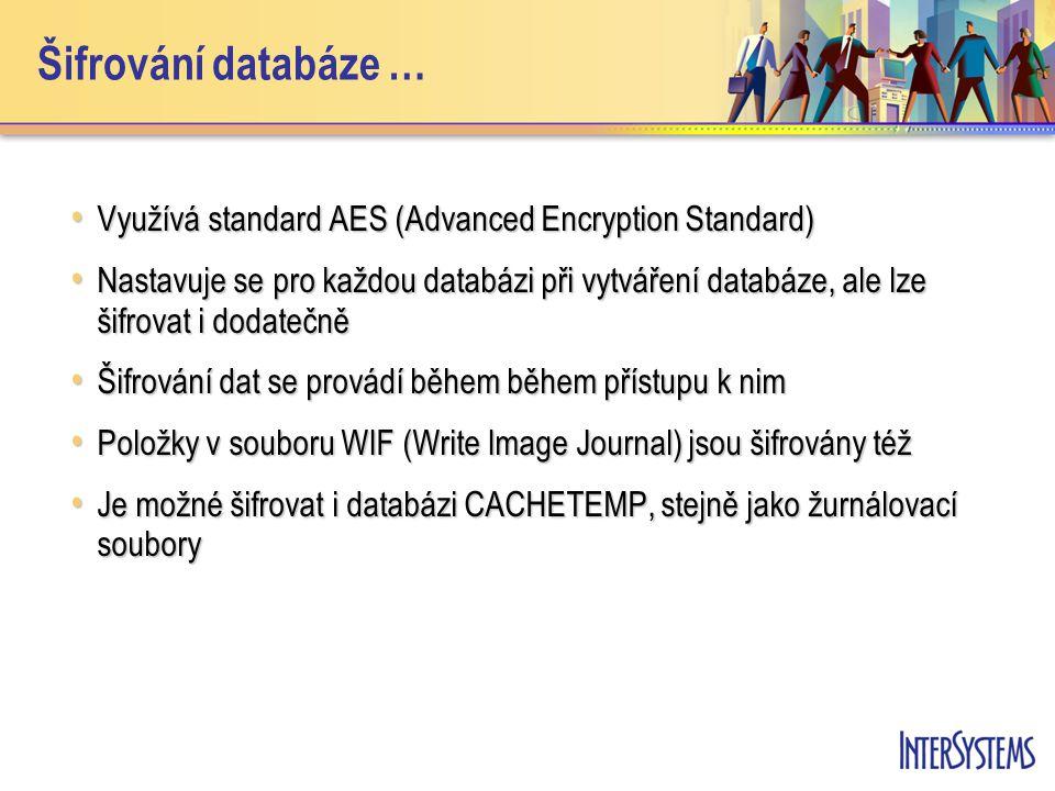 Šifrování databáze … Využívá standard AES (Advanced Encryption Standard) Využívá standard AES (Advanced Encryption Standard) Nastavuje se pro každou databázi při vytváření databáze, ale lze šifrovat i dodatečně Nastavuje se pro každou databázi při vytváření databáze, ale lze šifrovat i dodatečně Šifrování dat se provádí během během přístupu k nim Šifrování dat se provádí během během přístupu k nim Položky v souboru WIF (Write Image Journal) jsou šifrovány též Položky v souboru WIF (Write Image Journal) jsou šifrovány též Je možné šifrovat i databázi CACHETEMP, stejně jako žurnálovací soubory Je možné šifrovat i databázi CACHETEMP, stejně jako žurnálovací soubory