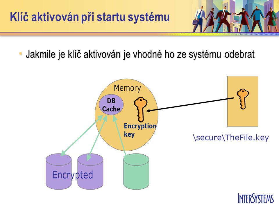 Klíč aktivován při startu systému Jakmile je klíč aktivován je vhodné ho ze systému odebrat Jakmile je klíč aktivován je vhodné ho ze systému odebrat