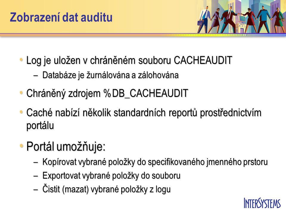 Zobrazení dat auditu Log je uložen v chráněném souboru CACHEAUDIT Log je uložen v chráněném souboru CACHEAUDIT –Databáze je žurnálována a zálohována C