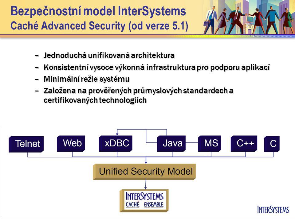Bezpečnostní model InterSystems … Zabezpečení databáze Caché Zabezpečení databáze Caché –Zdroje (Resources) –Šifrování (Encryption) –Audit (System events auditing) Umožnit vývojářům zabudovat bezpečnostní mechanismy do jejich aplikací Umožnit vývojářům zabudovat bezpečnostní mechanismy do jejich aplikací –Delegovaná autentikace, ověřování autorizace, eskalace rolí –Audit aplikačních událostí –Zabezpečená komunikace klienta SSL/TLS