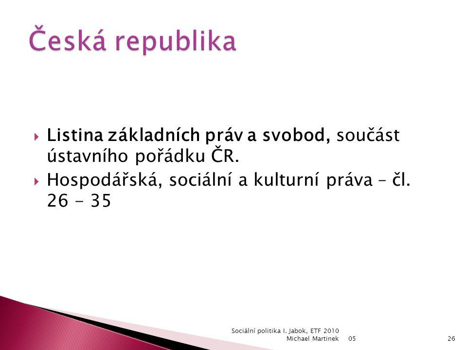  Listina základních práv a svobod, součást ústavního pořádku ČR.
