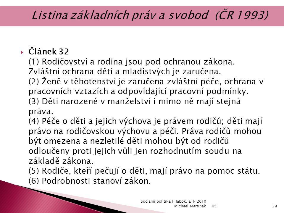  Článek 32 (1) Rodičovství a rodina jsou pod ochranou zákona.